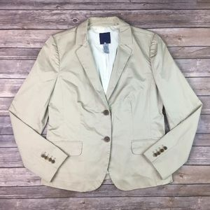 J. Crew Khaki Stretch 2 Button Blazer Jacket